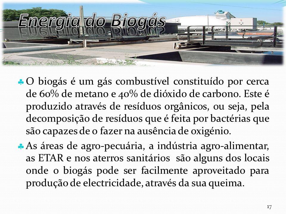 Curso Técnico de Informática e Sistemas O biogás é um gás combustível constituído por cerca de 60% de metano e 40% de dióxido de carbono. Este é produ