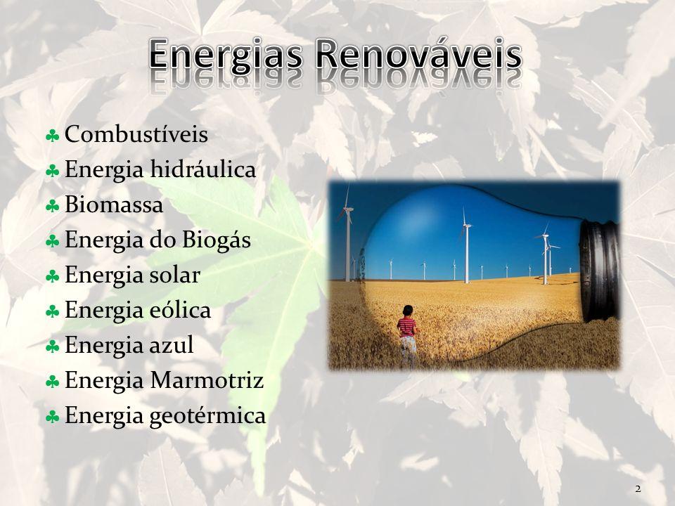 2 Combustíveis Energia hidráulica Biomassa Energia do Biogás Energia solar Energia eólica Energia azul Energia Marmotriz Energia geotérmica