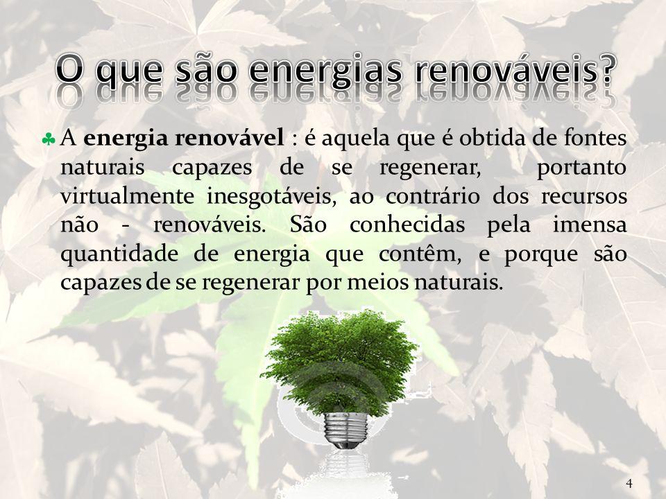 Curso Técnico de Informática e Sistemas A energia renovável : é aquela que é obtida de fontes naturais capazes de se regenerar, portanto virtualmente