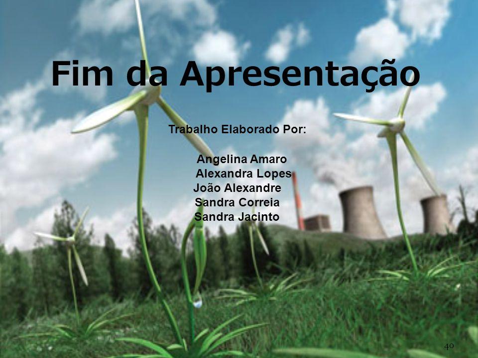 Fim da Apresentação Trabalho Elaborado Por: Angelina Amaro Alexandra Lopes João Alexandre Sandra Correia Sandra Jacinto 40