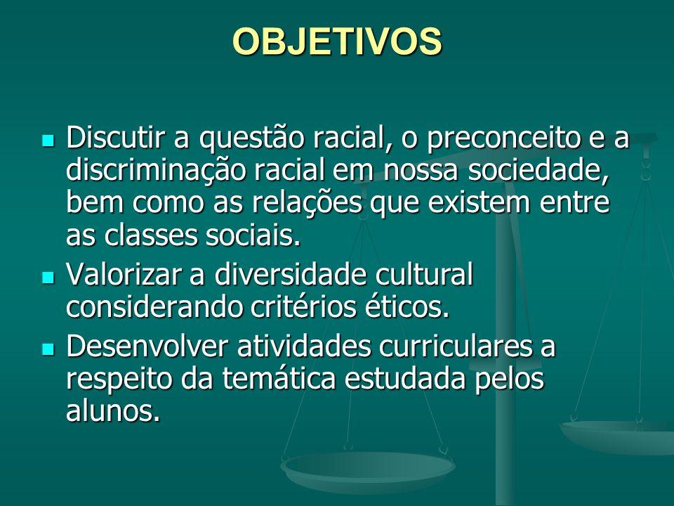OBJETIVOS Discutir a questão racial, o preconceito e a discriminação racial em nossa sociedade, bem como as relações que existem entre as classes soci