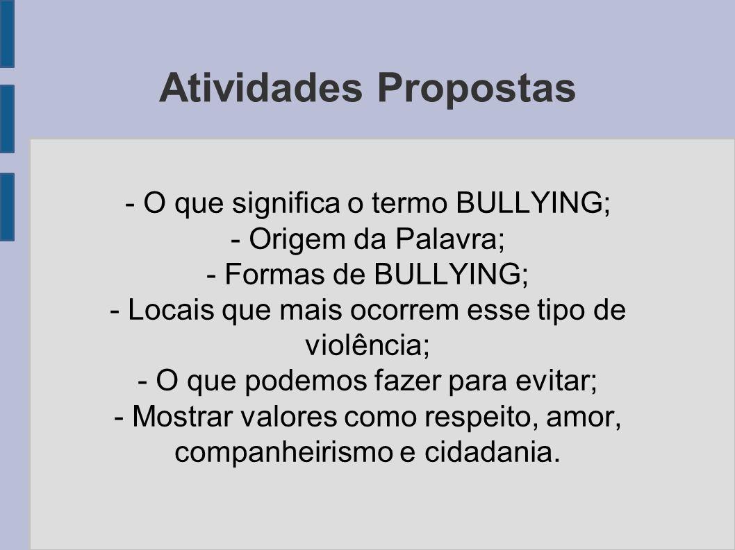 Questionário a ser respondido pelos alunos após a discussão 1 – O que significa o Termo Bullying.