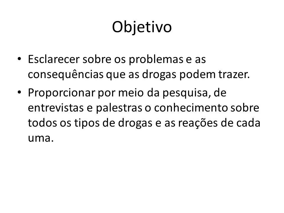 Objetivo Esclarecer sobre os problemas e as consequências que as drogas podem trazer. Proporcionar por meio da pesquisa, de entrevistas e palestras o