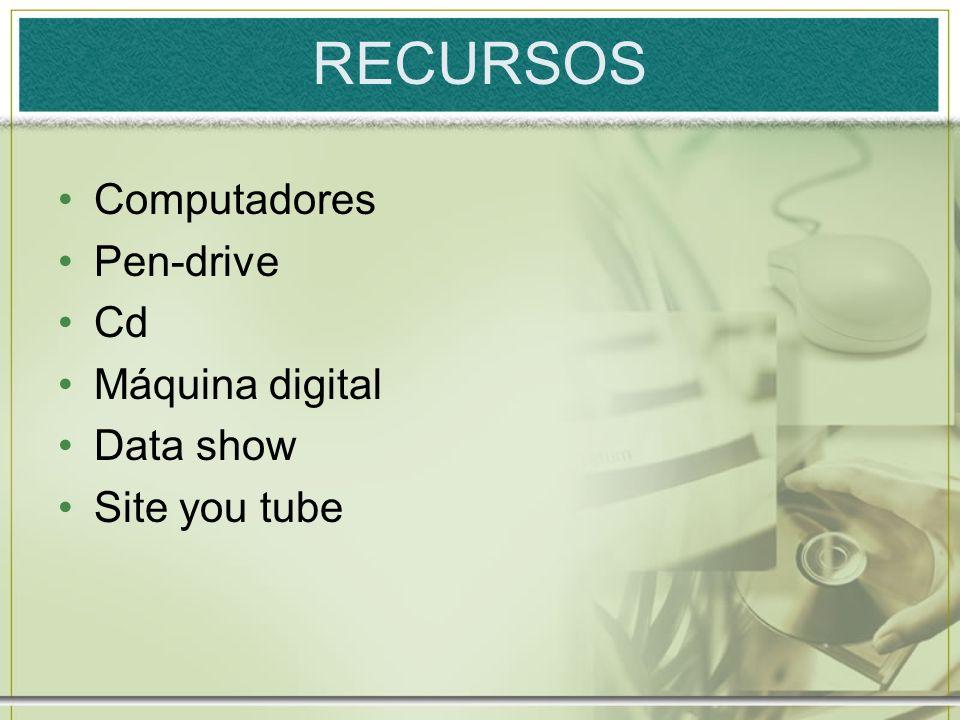 RECURSOS Computadores Pen-drive Cd Máquina digital Data show Site you tube