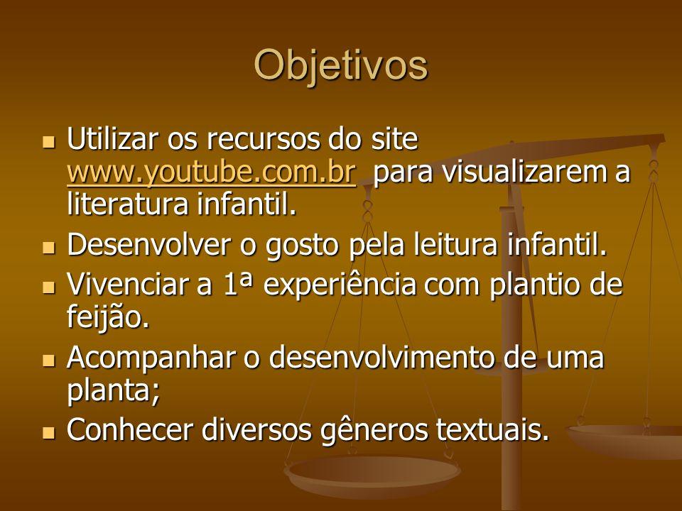 Objetivos Utilizar os recursos do site www.youtube.com.br para visualizarem a literatura infantil.