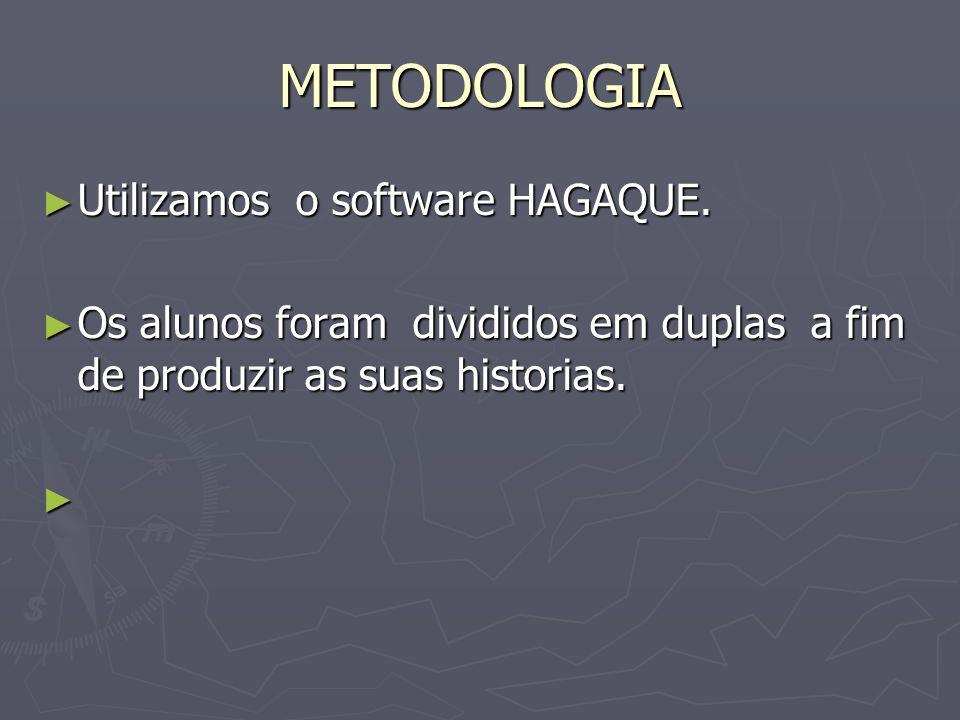 METODOLOGIA Utilizamos o software HAGAQUE. Utilizamos o software HAGAQUE. Os alunos foram divididos em duplas a fim de produzir as suas historias. Os