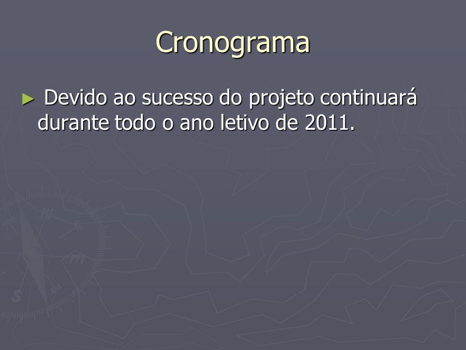 Cronograma Devido ao sucesso do projeto continuará durante todo o ano letivo de 2011. Devido ao sucesso do projeto continuará durante todo o ano letiv