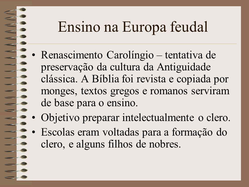 Ensino na Europa feudal Renascimento Carolíngio – tentativa de preservação da cultura da Antiguidade clássica. A Bíblia foi revista e copiada por mong