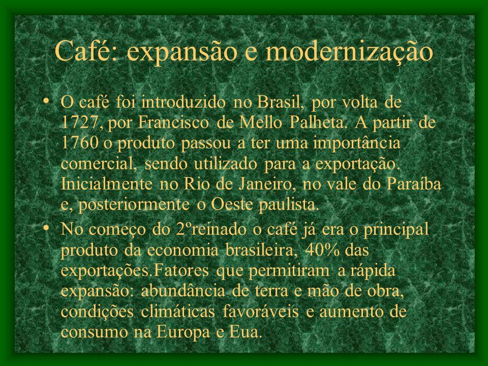 Café: expansão e modernização O café foi introduzido no Brasil, por volta de 1727, por Francisco de Mello Palheta. A partir de 1760 o produto passou a