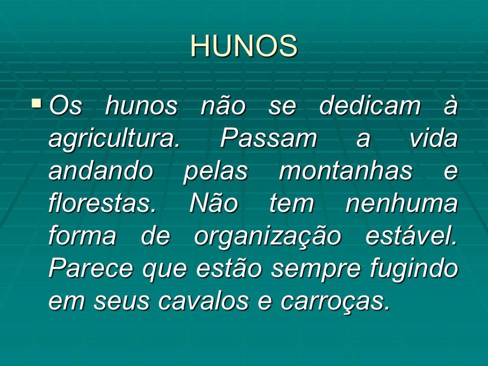 HUNOS Os hunos não se dedicam à agricultura. Passam a vida andando pelas montanhas e florestas. Não tem nenhuma forma de organização estável. Parece q