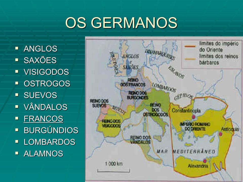 OS GERMANOS ANGLOS ANGLOS SAXÕES SAXÕES VISIGODOS VISIGODOS OSTROGOS OSTROGOS SUEVOS SUEVOS VÂNDALOS VÂNDALOS FRANCOS FRANCOS BURGÚNDIOS BURGÚNDIOS LOMBARDOS LOMBARDOS ALAMNOS ALAMNOS