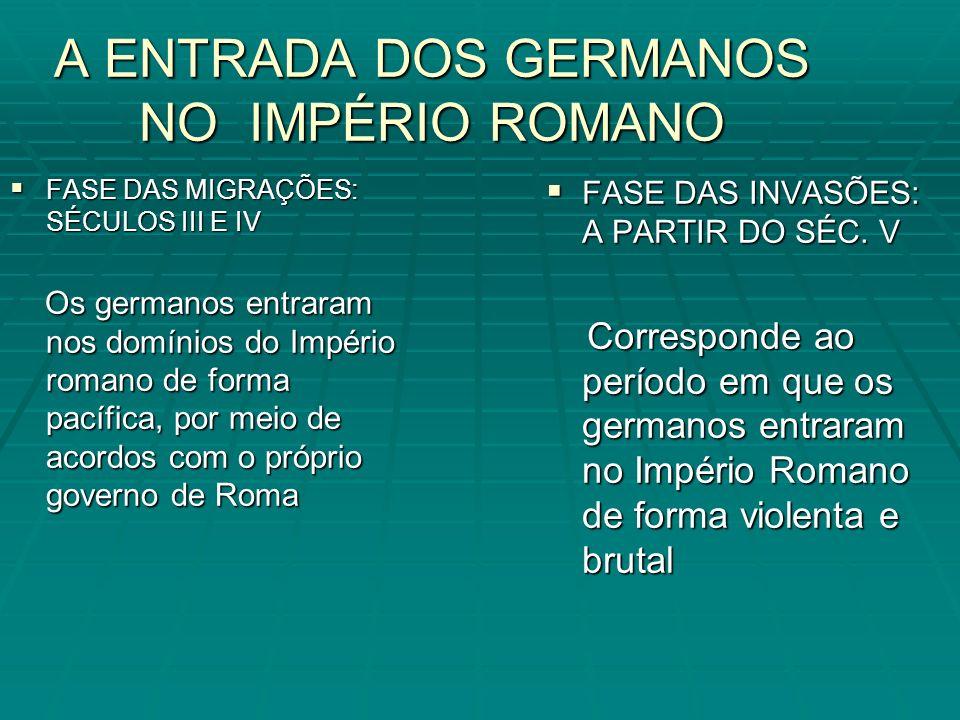 A ENTRADA DOS GERMANOS NO IMPÉRIO ROMANO FASE DAS MIGRAÇÕES: SÉCULOS III E IV FASE DAS MIGRAÇÕES: SÉCULOS III E IV Os germanos entraram nos domínios d