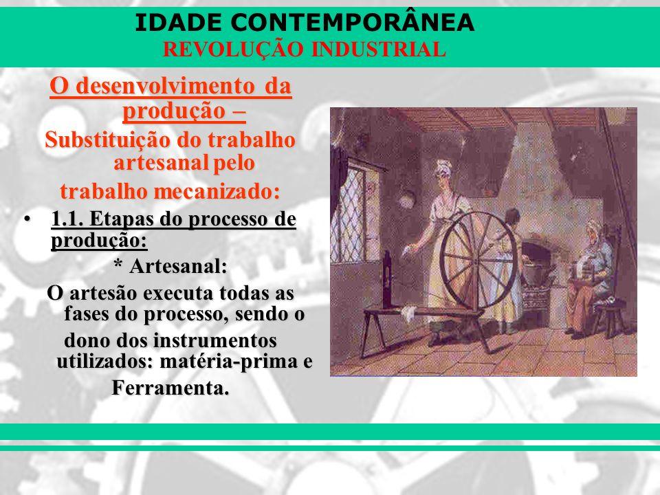 IDADE CONTEMPORÂNEA REVOLUÇÃO INDUSTRIAL O desenvolvimento da produção – Substituição do trabalho artesanal pelo trabalho mecanizado: 1.1. Etapas do p
