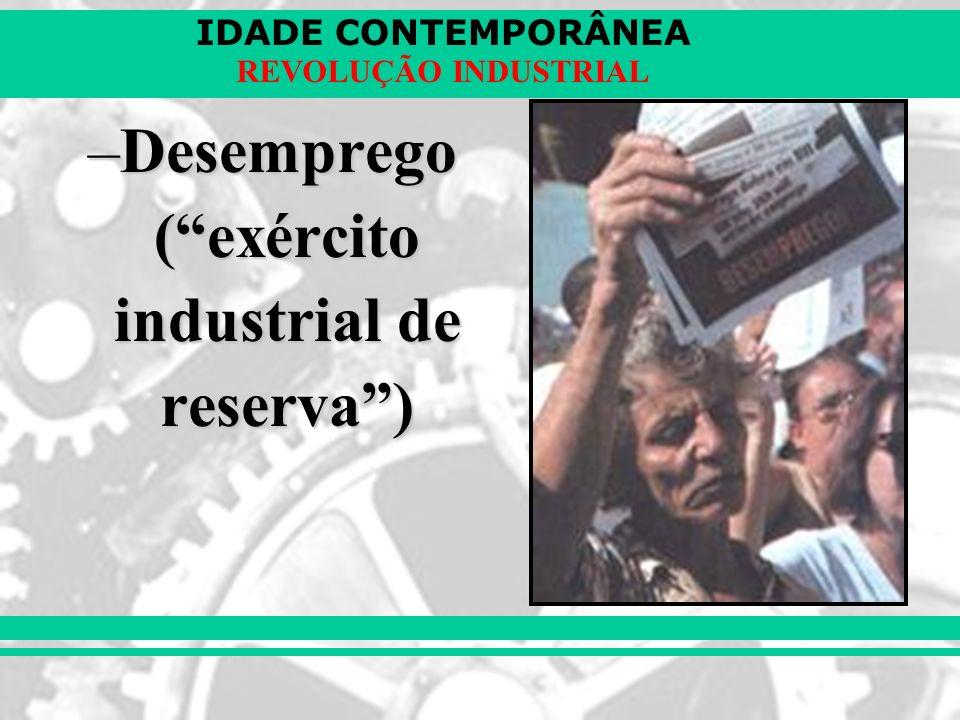 IDADE CONTEMPORÂNEA REVOLUÇÃO INDUSTRIAL –Desemprego (exército industrial de reserva)