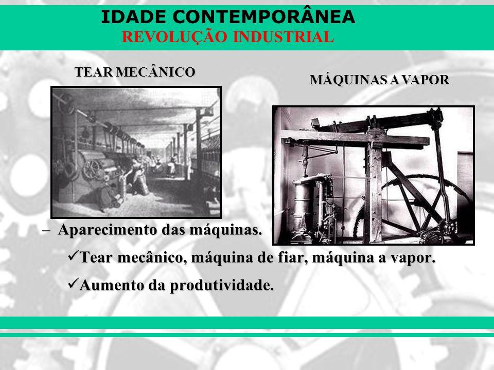 IDADE CONTEMPORÂNEA REVOLUÇÃO INDUSTRIAL –Aparecimento das máquinas. Tear mecânico, máquina de fiar, máquina a vapor. Tear mecânico, máquina de fiar,