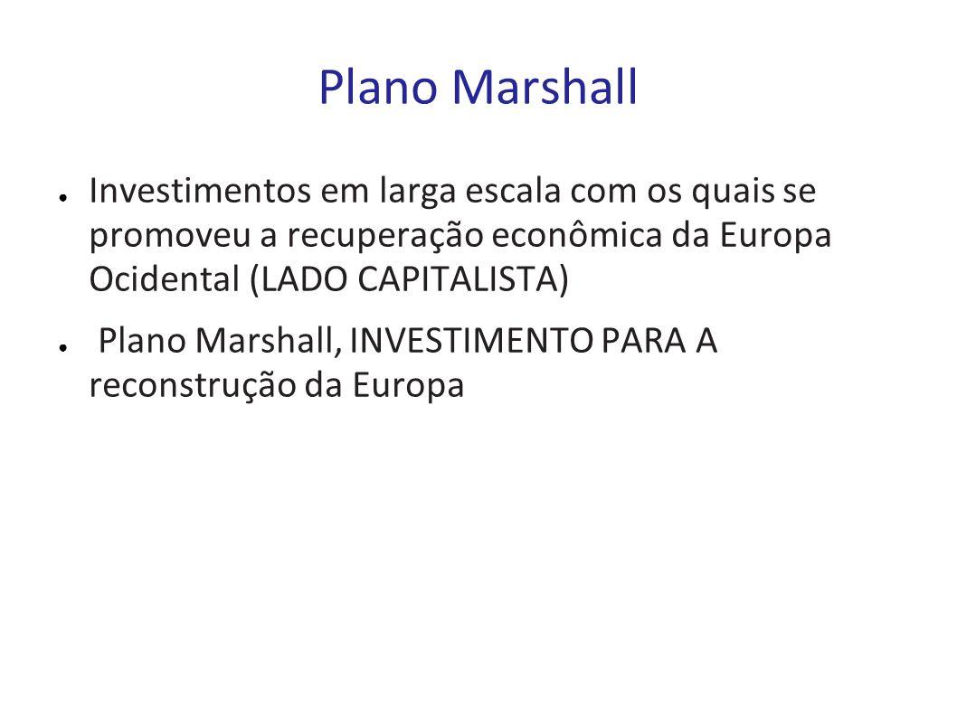 Plano Marshall Investimentos em larga escala com os quais se promoveu a recuperação econômica da Europa Ocidental (LADO CAPITALISTA) Plano Marshall, I
