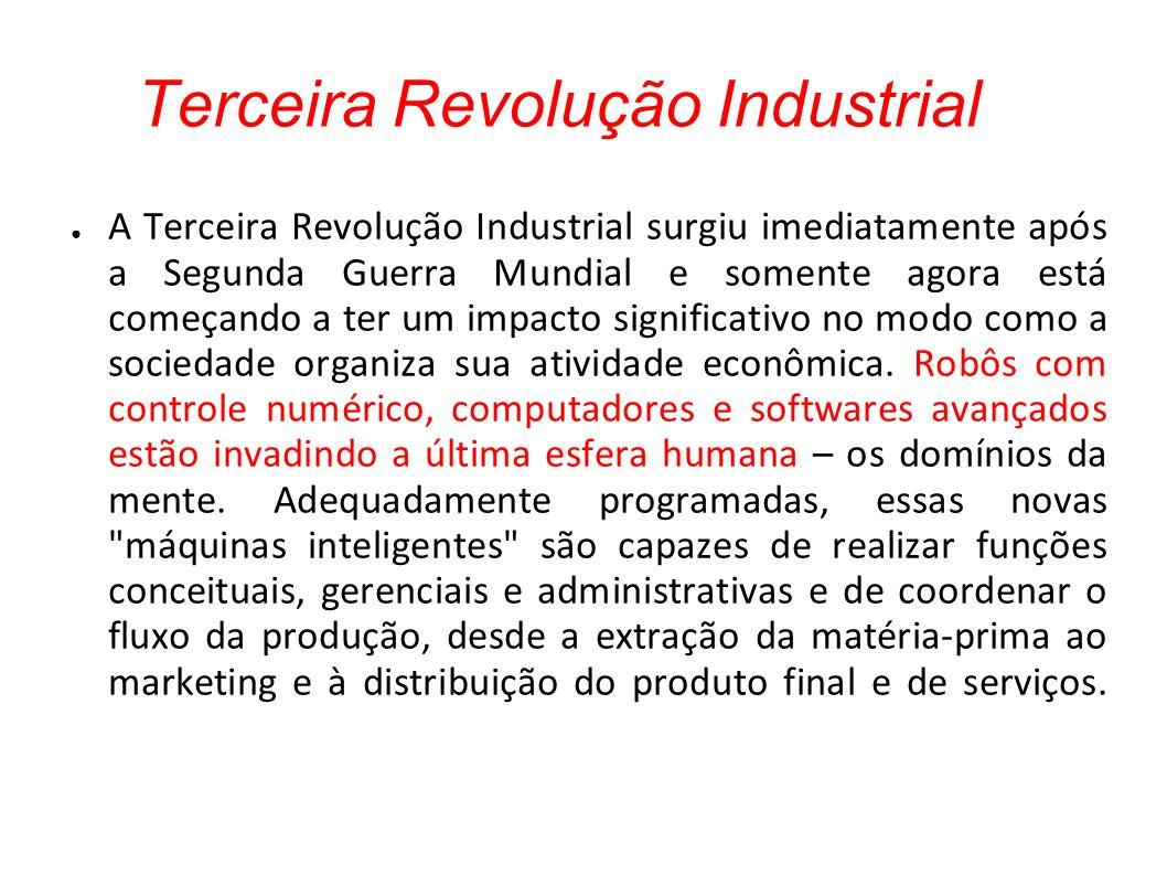 Terceira Revolução Industrial A Terceira Revolução Industrial surgiu imediatamente após a Segunda Guerra Mundial e somente agora está começando a ter