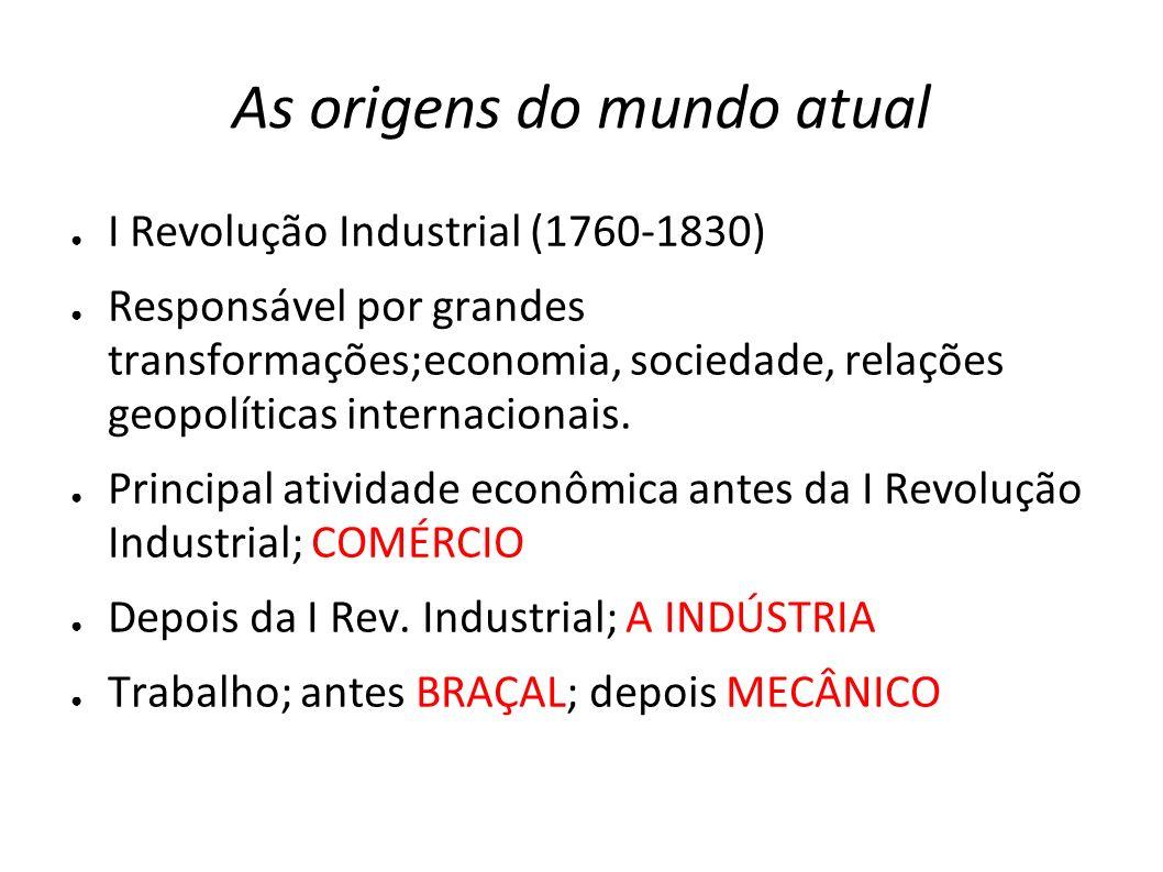 As origens do mundo atual I Revolução Industrial (1760-1830) Responsável por grandes transformações;economia, sociedade, relações geopolíticas interna