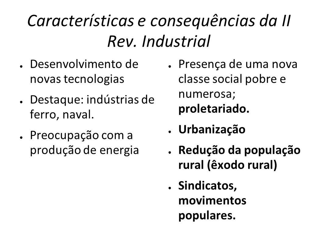 Características e consequências da II Rev. Industrial Desenvolvimento de novas tecnologias Destaque: indústrias de ferro, naval. Preocupação com a pro