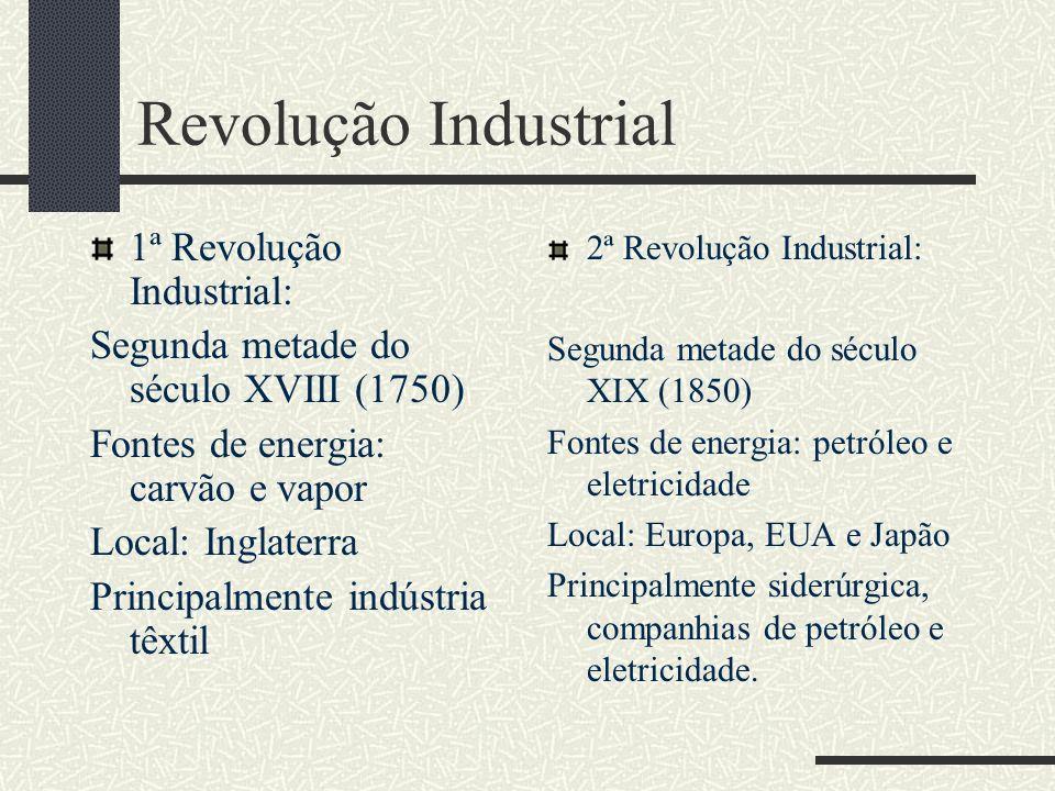 Revolução Industrial 1ª Revolução Industrial: Segunda metade do século XVIII (1750) Fontes de energia: carvão e vapor Local: Inglaterra Principalmente