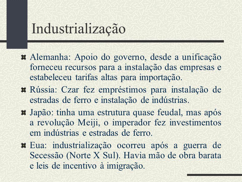 Industrialização Alemanha: Apoio do governo, desde a unificação forneceu recursos para a instalação das empresas e estabeleceu tarifas altas para impo