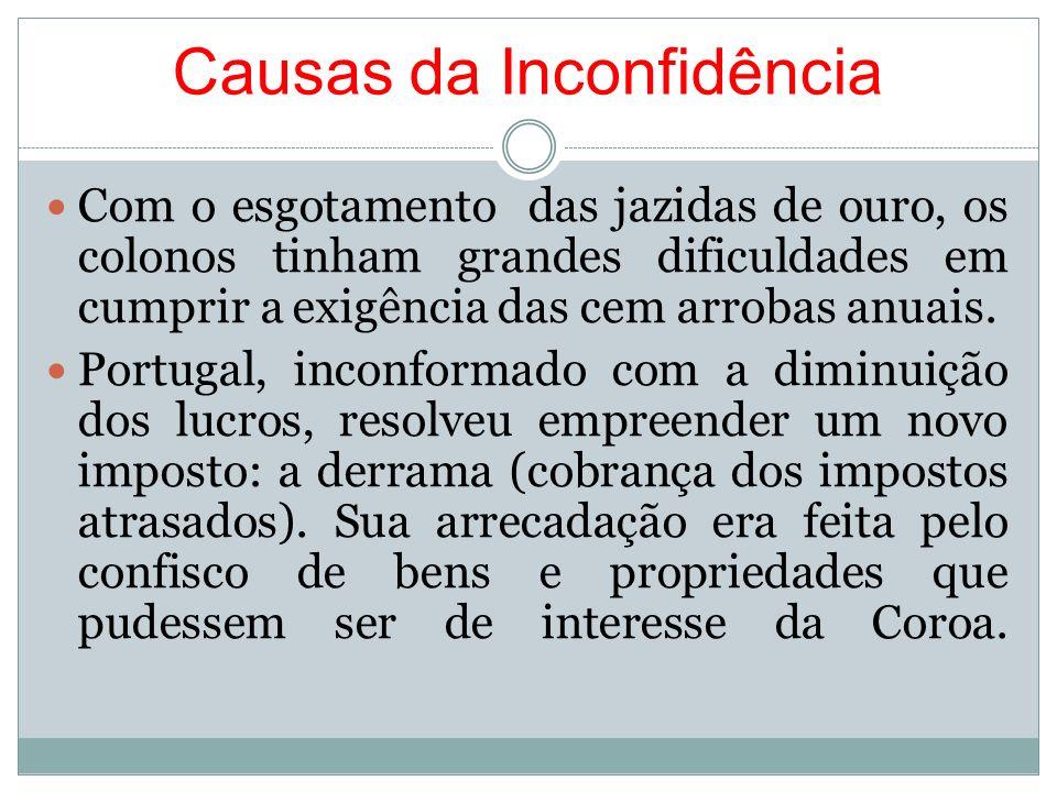 Causas da Inconfidência Com o esgotamento das jazidas de ouro, os colonos tinham grandes dificuldades em cumprir a exigência das cem arrobas anuais. P