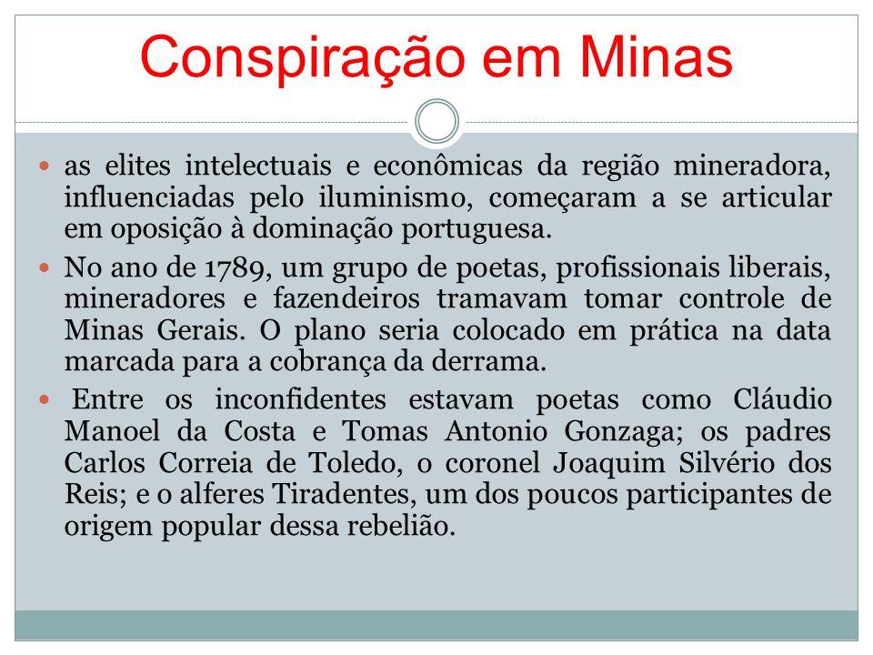 Conspiração em Minas as elites intelectuais e econômicas da região mineradora, influenciadas pelo iluminismo, começaram a se articular em oposição à d