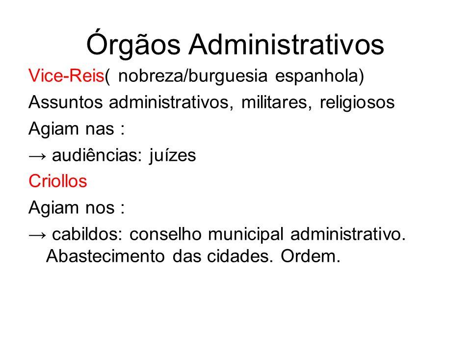 Órgãos Administrativos Vice-Reis( nobreza/burguesia espanhola) Assuntos administrativos, militares, religiosos Agiam nas : audiências: juízes Criollos