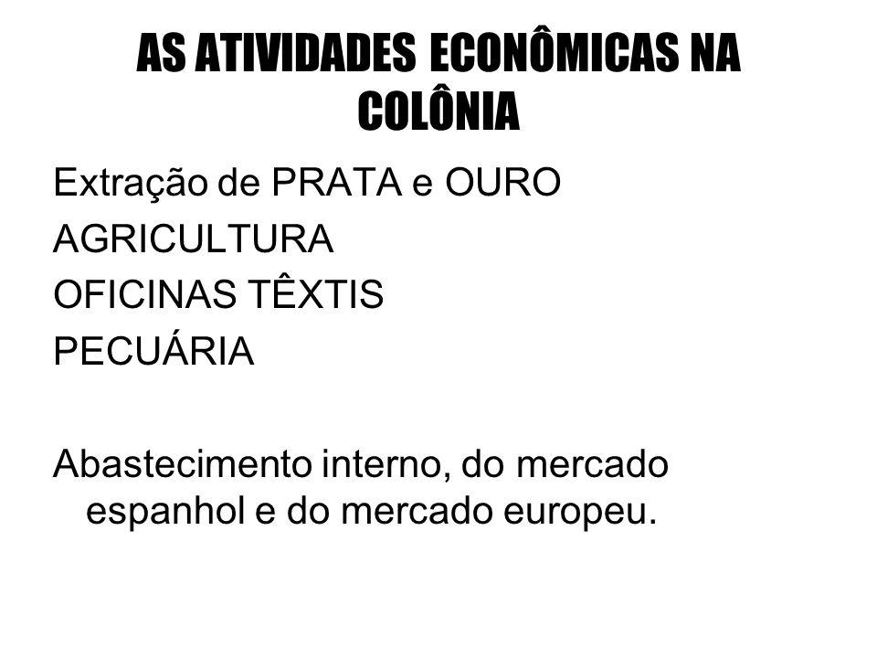 AS ATIVIDADES ECONÔMICAS NA COLÔNIA Extração de PRATA e OURO AGRICULTURA OFICINAS TÊXTIS PECUÁRIA Abastecimento interno, do mercado espanhol e do merc