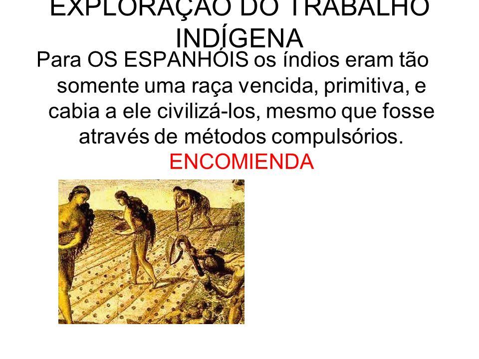 EXPLORAÇÃO DO TRABALHO INDÍGENA Para OS ESPANHÓIS os índios eram tão somente uma raça vencida, primitiva, e cabia a ele civilizá-los, mesmo que fosse