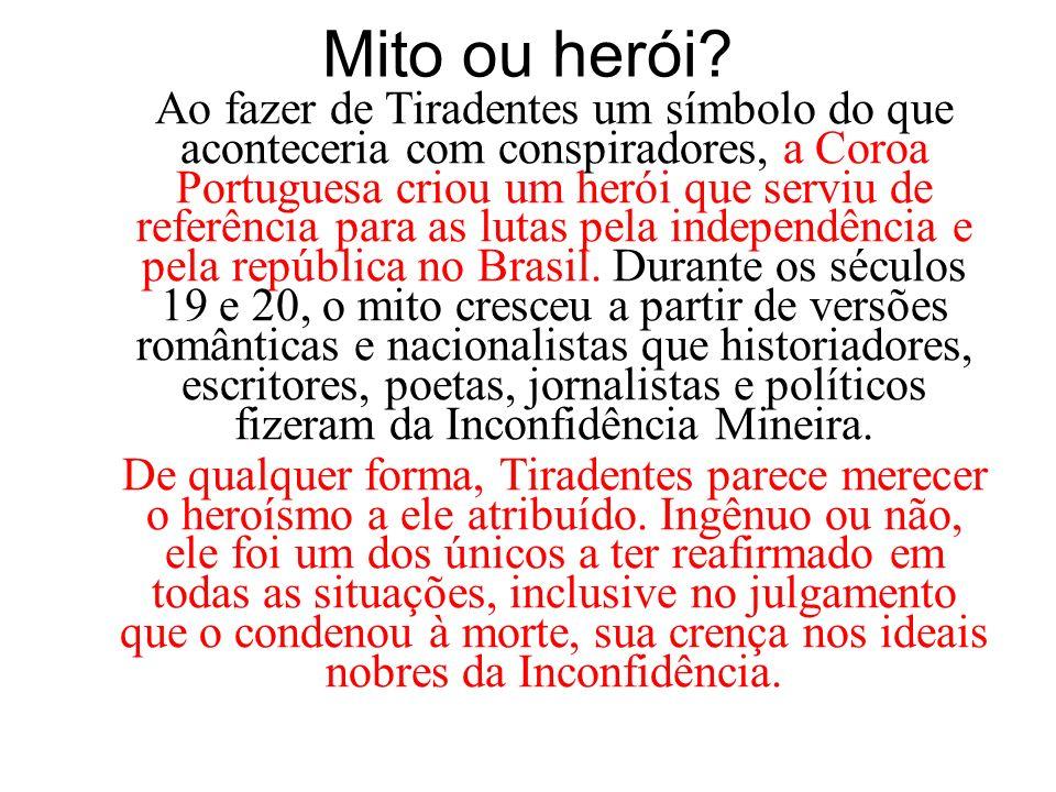 Mito ou herói? Ao fazer de Tiradentes um símbolo do que aconteceria com conspiradores, a Coroa Portuguesa criou um herói que serviu de referência para