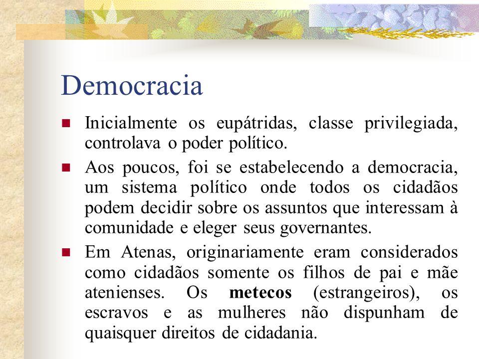 Democracia Inicialmente os eupátridas, classe privilegiada, controlava o poder político. Aos poucos, foi se estabelecendo a democracia, um sistema pol