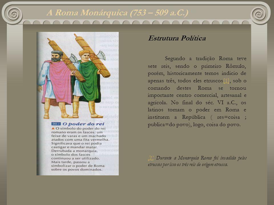 A Roma Monárquica (753 – 509 a.C.) Estrutura Política Segundo a tradição Roma teve sete reis, sendo o primeiro Rômulo, porém, historicamente temos ind