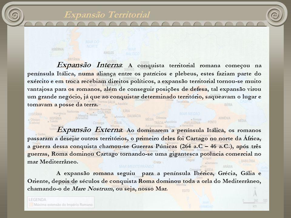 Expansão Territorial Expansão Interna : A conquista territorial romana começou na península Itálica, numa aliança entre os patrícios e plebeus, estes
