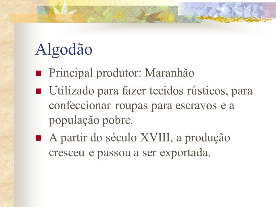 Algodão Principal produtor: Maranhão Utilizado para fazer tecidos rústicos, para confeccionar roupas para escravos e a população pobre.
