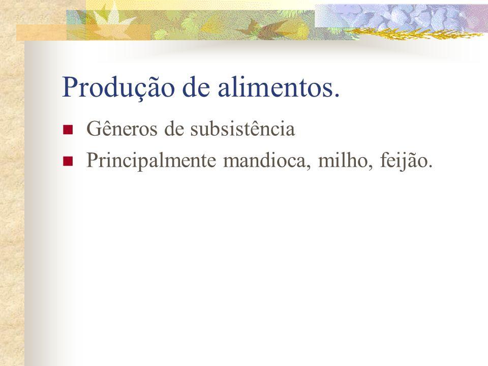 Produção de alimentos. Gêneros de subsistência Principalmente mandioca, milho, feijão.
