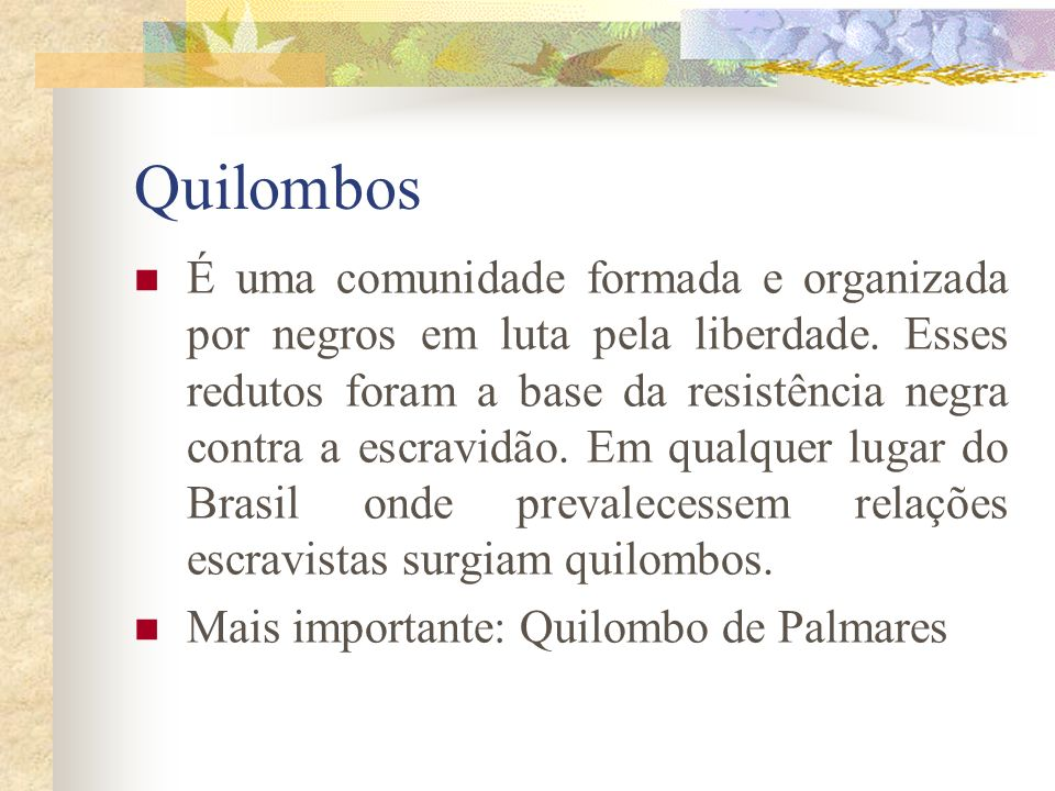 Quilombos É uma comunidade formada e organizada por negros em luta pela liberdade. Esses redutos foram a base da resistência negra contra a escravidão