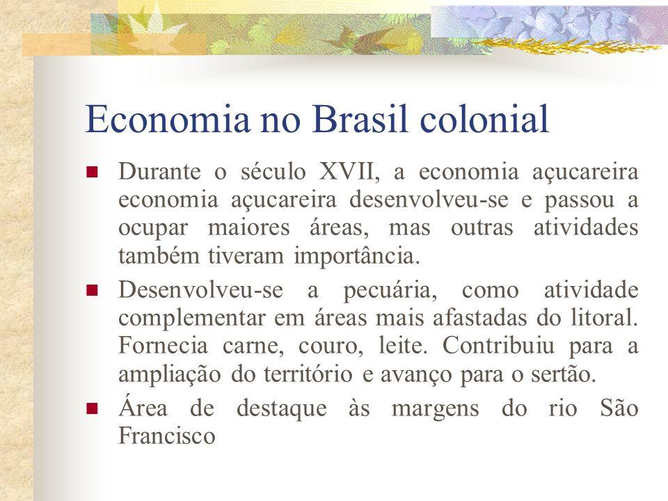 Economia no Brasil colonial Durante o século XVII, a economia açucareira economia açucareira desenvolveu-se e passou a ocupar maiores áreas, mas outras atividades também tiveram importância.