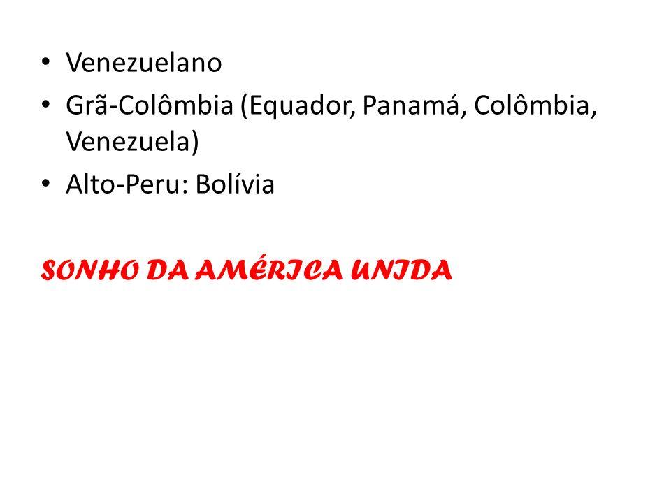 Venezuelano Grã-Colômbia (Equador, Panamá, Colômbia, Venezuela) Alto-Peru: Bolívia SONHO DA AMÉRICA UNIDA