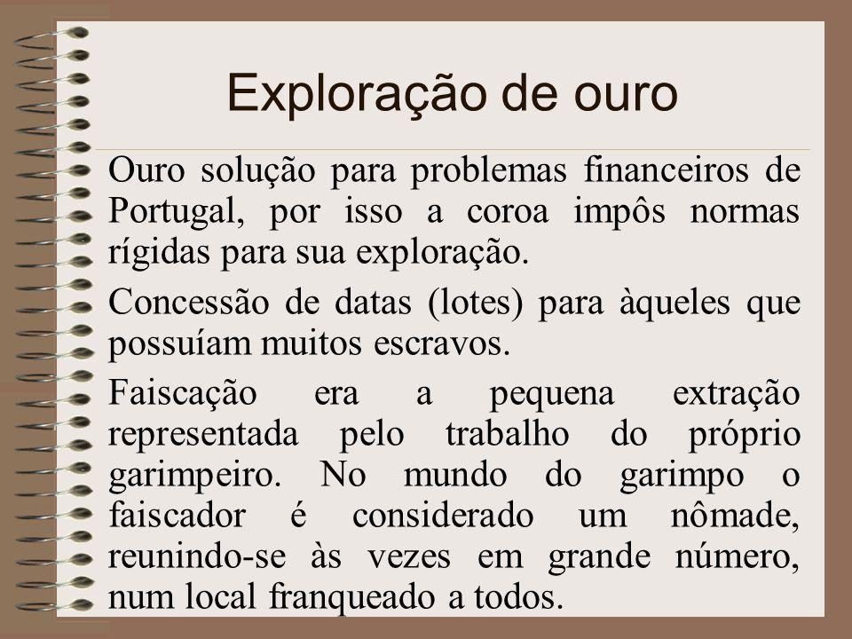 Exploração de ouro Ouro solução para problemas financeiros de Portugal, por isso a coroa impôs normas rígidas para sua exploração. Concessão de datas