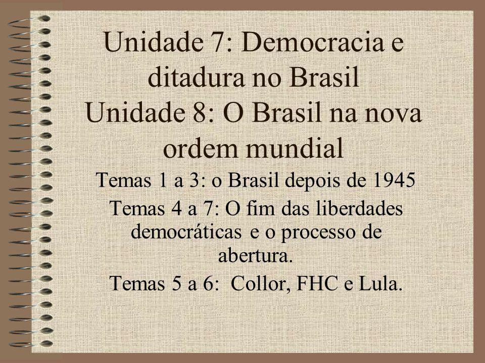 Unidade 7: Democracia e ditadura no Brasil Unidade 8: O Brasil na nova ordem mundial Temas 1 a 3: o Brasil depois de 1945 Temas 4 a 7: O fim das liber