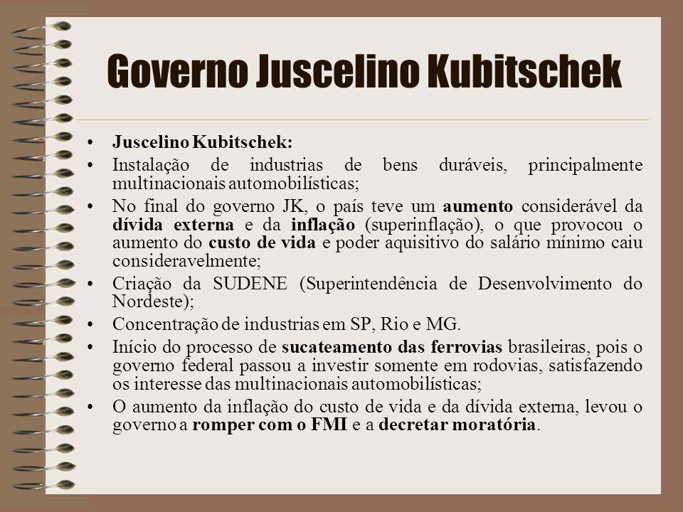 Governo Juscelino Kubitschek Juscelino Kubitschek: Instalação de industrias de bens duráveis, principalmente multinacionais automobilísticas; No final