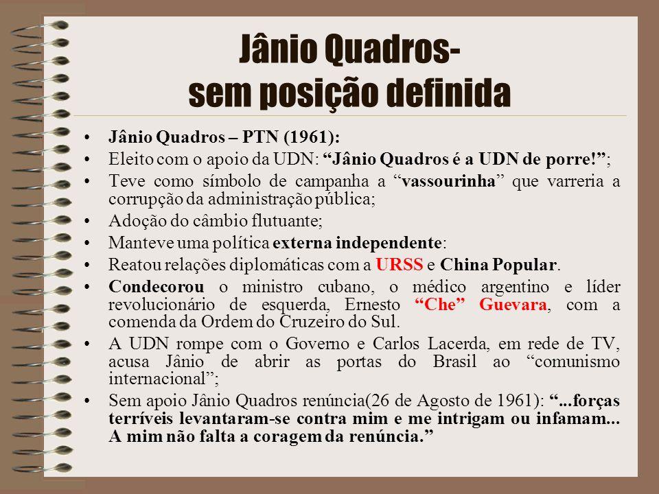 Jânio Quadros- sem posição definida Jânio Quadros – PTN (1961): Eleito com o apoio da UDN: Jânio Quadros é a UDN de porre!; Teve como símbolo de campa