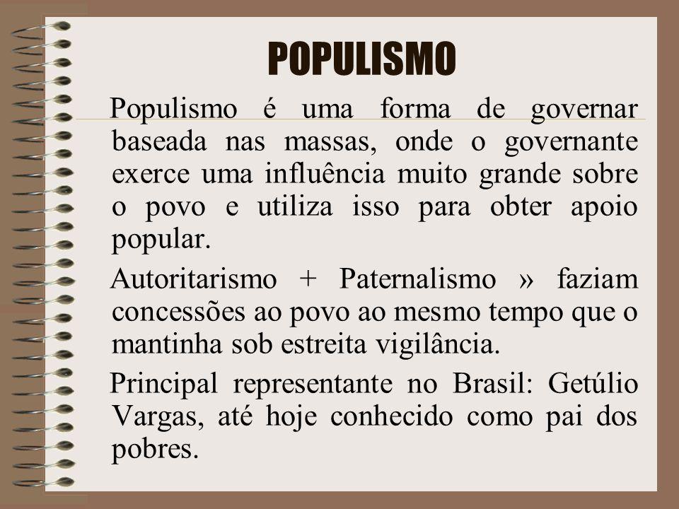 POPULISMO Populismo é uma forma de governar baseada nas massas, onde o governante exerce uma influência muito grande sobre o povo e utiliza isso para