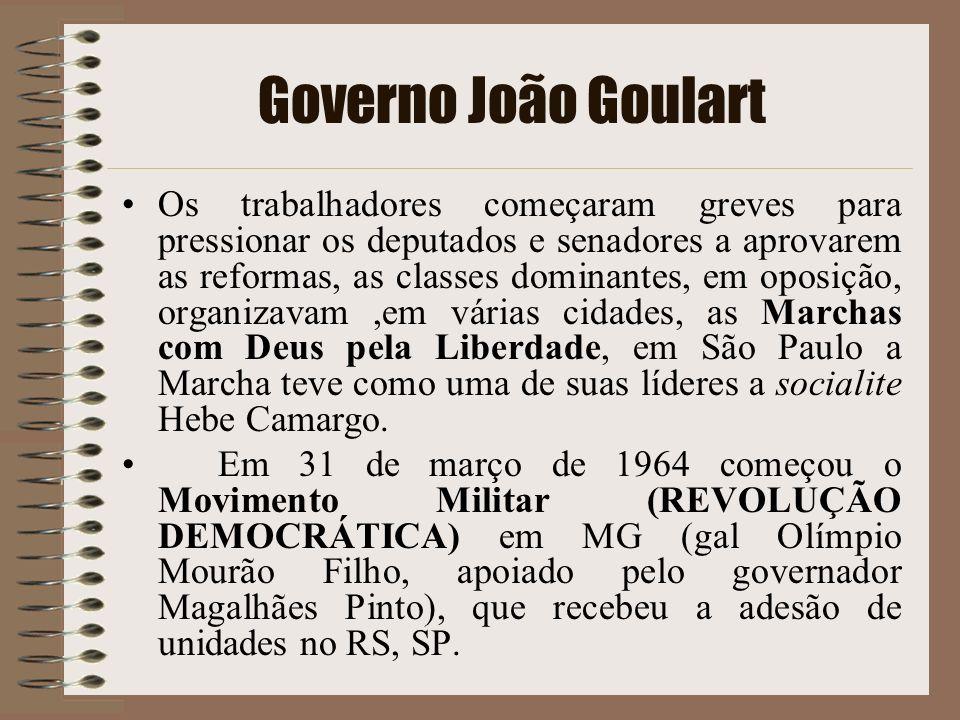 Governo João Goulart Os trabalhadores começaram greves para pressionar os deputados e senadores a aprovarem as reformas, as classes dominantes, em opo