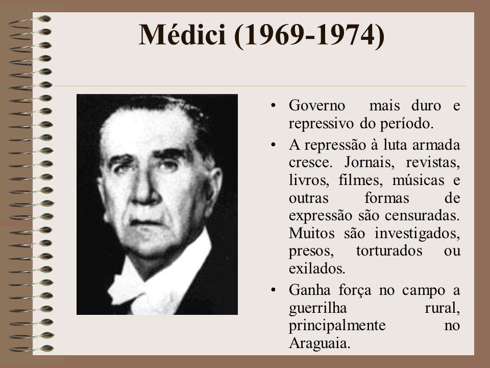 Médici (1969-1974) Governo mais duro e repressivo do período. A repressão à luta armada cresce. Jornais, revistas, livros, filmes, músicas e outras fo
