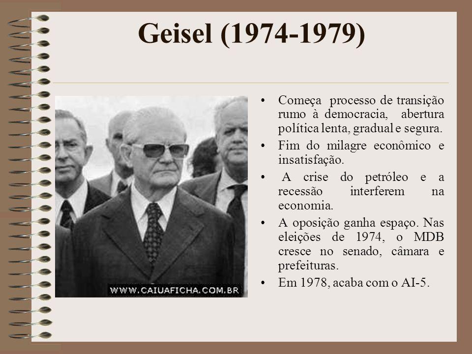 Geisel (1974-1979) Começa processo de transição rumo à democracia, abertura política lenta, gradual e segura. Fim do milagre econômico e insatisfação.