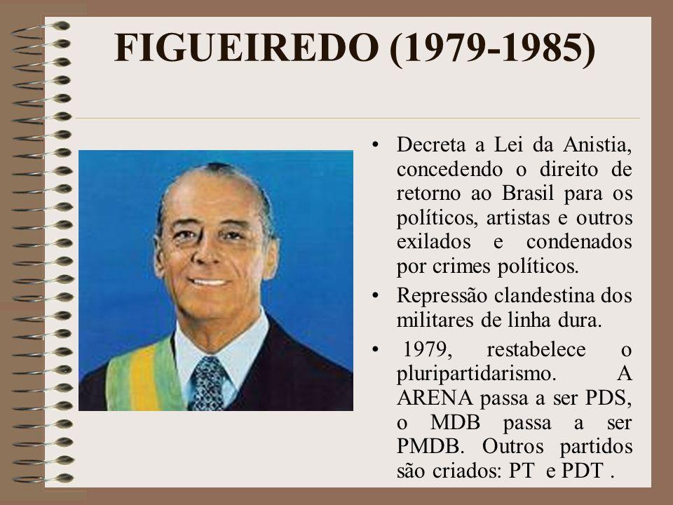 FIGUEIREDO (1979-1985) Decreta a Lei da Anistia, concedendo o direito de retorno ao Brasil para os políticos, artistas e outros exilados e condenados
