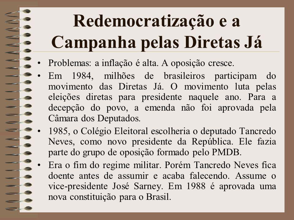 Redemocratização e a Campanha pelas Diretas Já Problemas: a inflação é alta. A oposição cresce. Em 1984, milhões de brasileiros participam do moviment