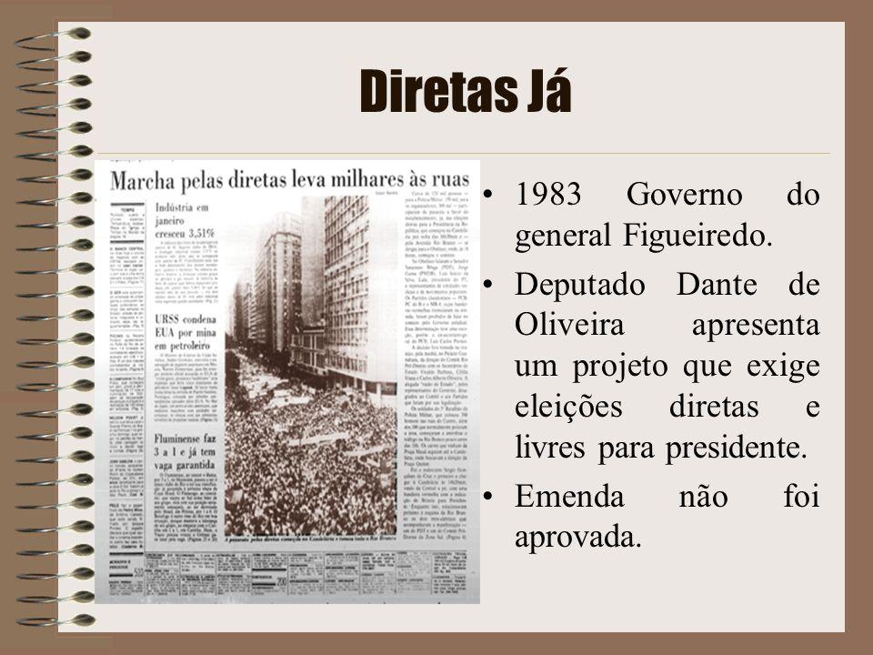Diretas Já 1983 Governo do general Figueiredo. Deputado Dante de Oliveira apresenta um projeto que exige eleições diretas e livres para presidente. Em